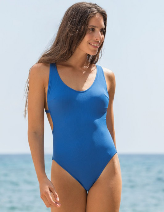 RIBBED BLUE OPEN BACK ONE PIECE