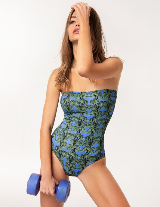 BLUE FOREST STRAPLESS ONE PIECE