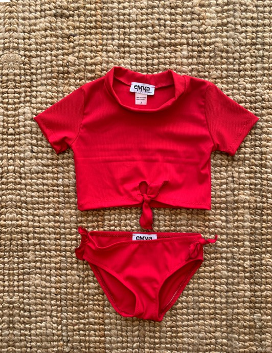 RIBBED CHERRY KIDS BIKINI SET