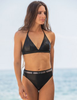METALLIC BLACK TRIANGLE BIKINI