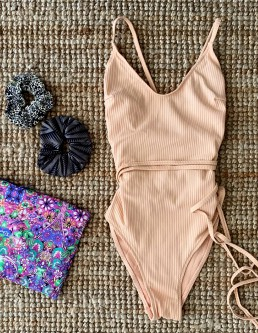 NUDE RIBBED ONEPIECE