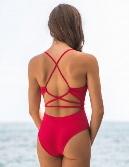 RIBBED CHERRY ONEPIECE