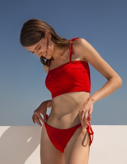 CHERRY RED CROP BIKINI
