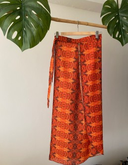 ORANGE GRAIN WRAP SKIRT