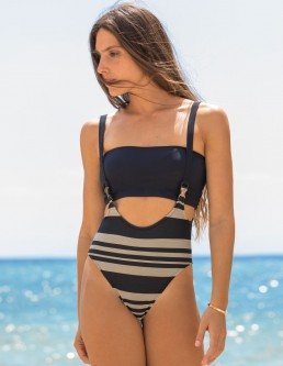 RIBBED STRIPE SUSPENDERS ONEPIECE