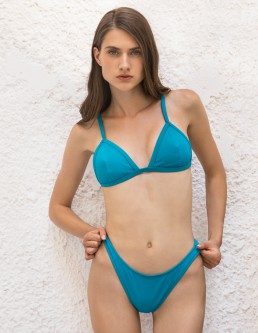 RIBBED TIRQUOISE TRIANGLE BIKINI
