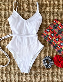 WHITE RIBBED ONEPIECE