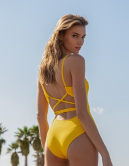 YELLOW RIBBED ONE PIECE