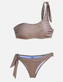 NUDE LUREX ONE SHOULDER BIKINI