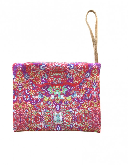 Pink flower pouch