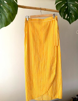 YELLOW STRIPE WRAP SKIRT
